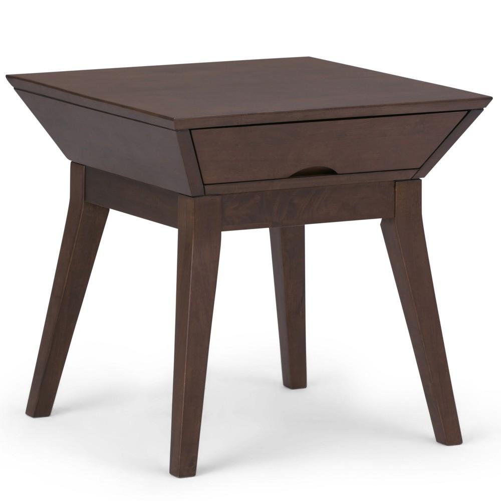 Avion Solid Hardwood End Table Walnut Brown - Wyndenhall