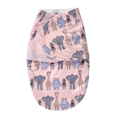Hudson Baby Unisex Baby Plush Swaddle Wrap - Pink Safari 0-3 Months