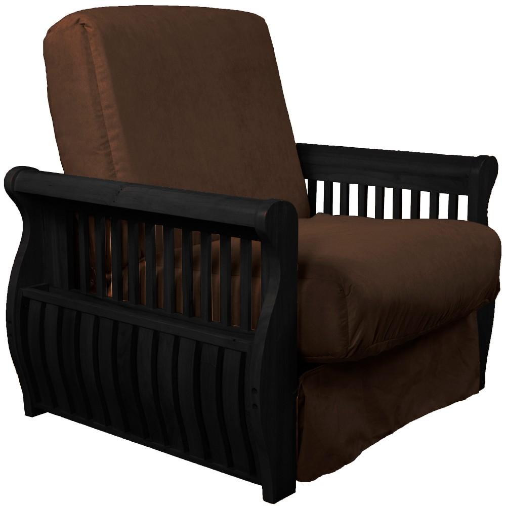 Storage Arm Perfect Futon Sofa Sleeper - Black Wood Finish - Epic Furnishings, Chocolate Brown