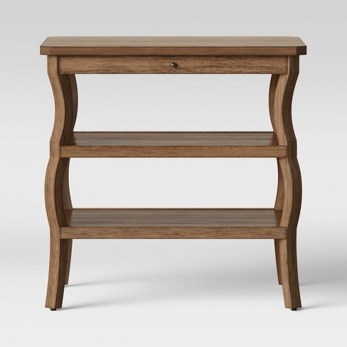 Shelburne Wood Nightstand with Open Shelves Brown - Threshold™ - image 1 of 4