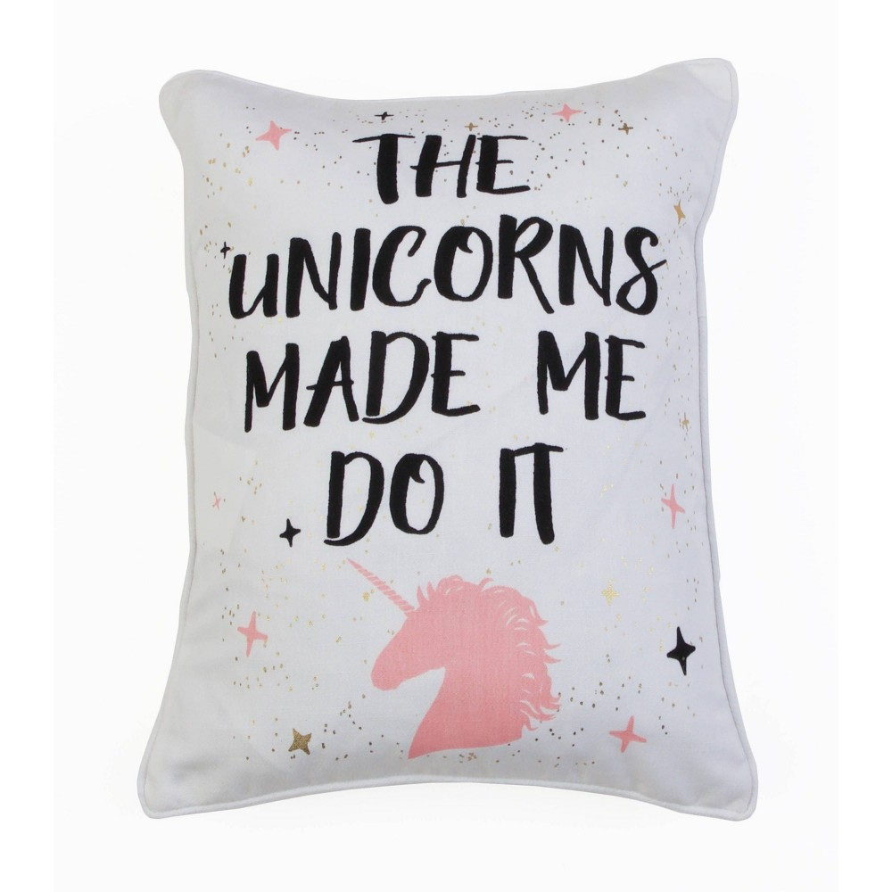 Image of Unicorns Typo Oversize Square Throw Pillow White/Rose Gold - Décor Therapy