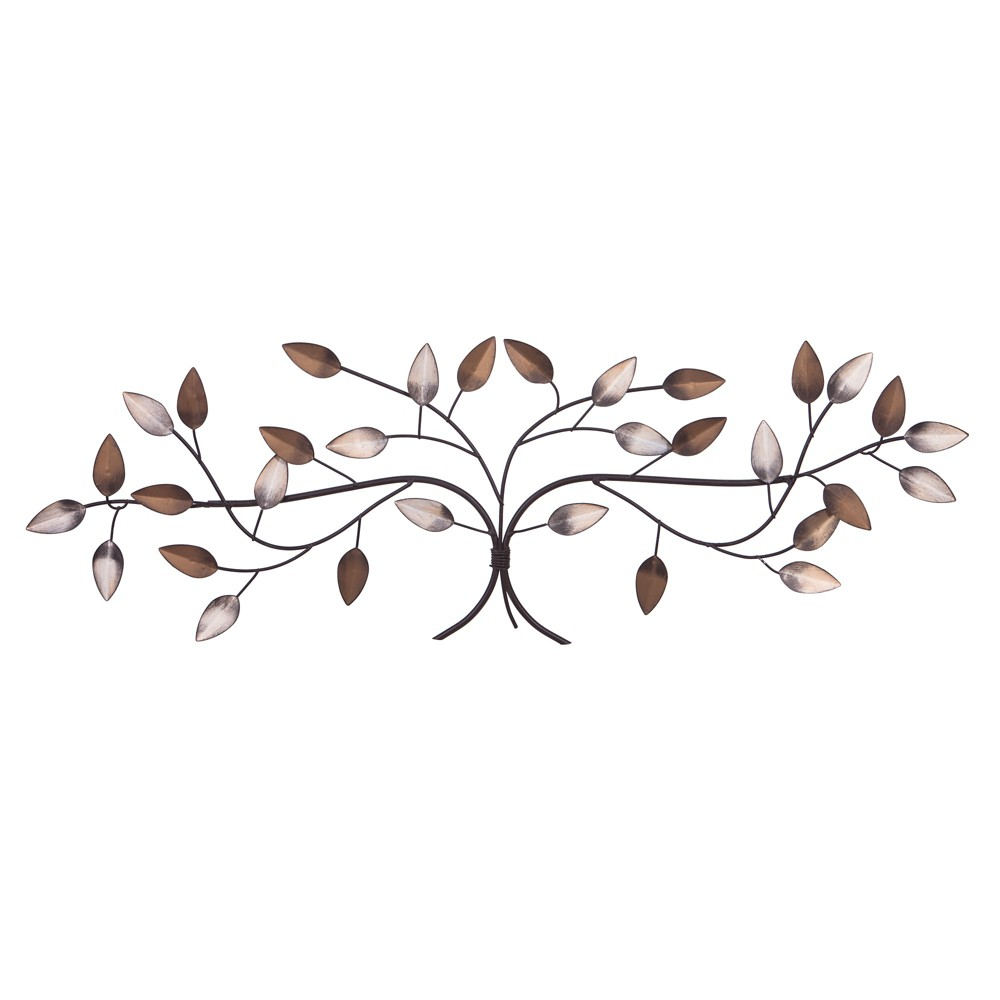"""Image of """"11""""""""x32"""""""" Bronze Tree Branch with Gold and Silver Leaves Metal Wall Decor Gold - Patton Wall Decor"""""""