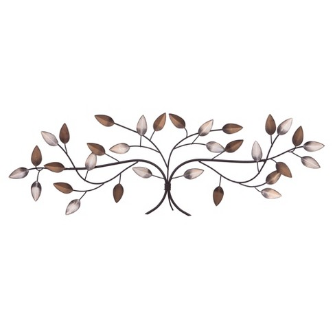 "11""x32"" Bronze Tree Branch with Gold and Silver Leaves Metal Wall Decor Gold - Patton Wall Decor - image 1 of 5"