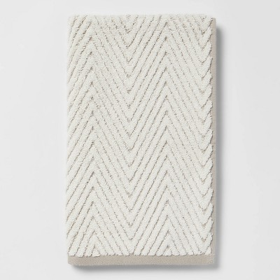 Chevron Textured Hand Towel Cream/Gray - Threshold™