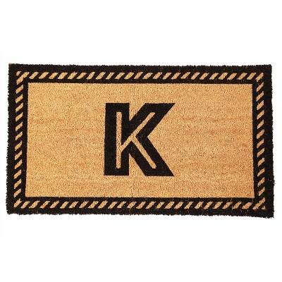 """Juvale Monogrammed Letter K Coir Door Mat Welcome Doormat Indoor Outdoor Nonslip Front Rugs 17""""x30"""""""