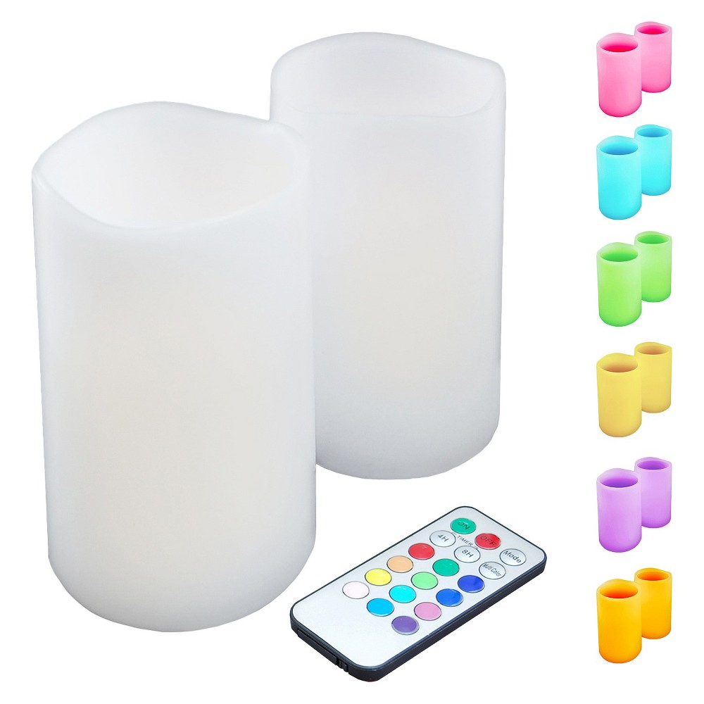 2ct Color-Changing Led Flickering Candles White - Lumabase, Multi-Colored