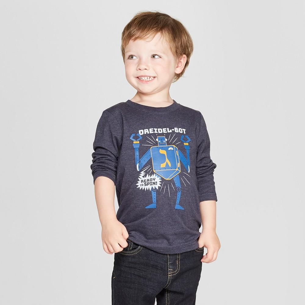 Toddler Boys' Hanukkah Dreidel - Bot Graphic Long Sleeve T-Shirt - Cat & Jack Navy 12M, Black