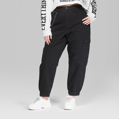 842880b4385 Women s Plus Size Twill Cargo Pants - Wild Fable™ Black   Target