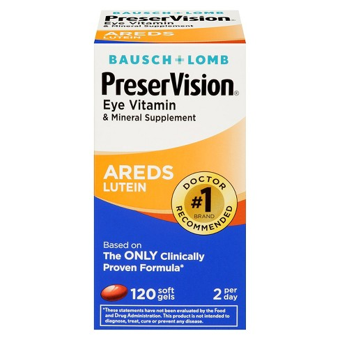 Bausch & Lomb PreserVision® Areds Lutein Eye Vitamin and Mineral Dietary Supplement Tablets - 120ct - image 1 of 1