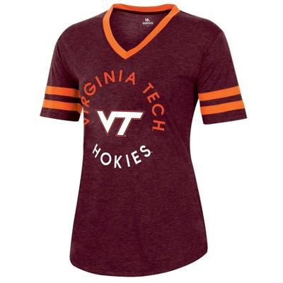NCAA Virginia Tech Hokies Women's Short Sleeve V-Neck Heathered T-Shirt