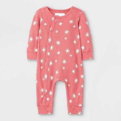 Grayson Mini Baby Stars Rib Romper - Red