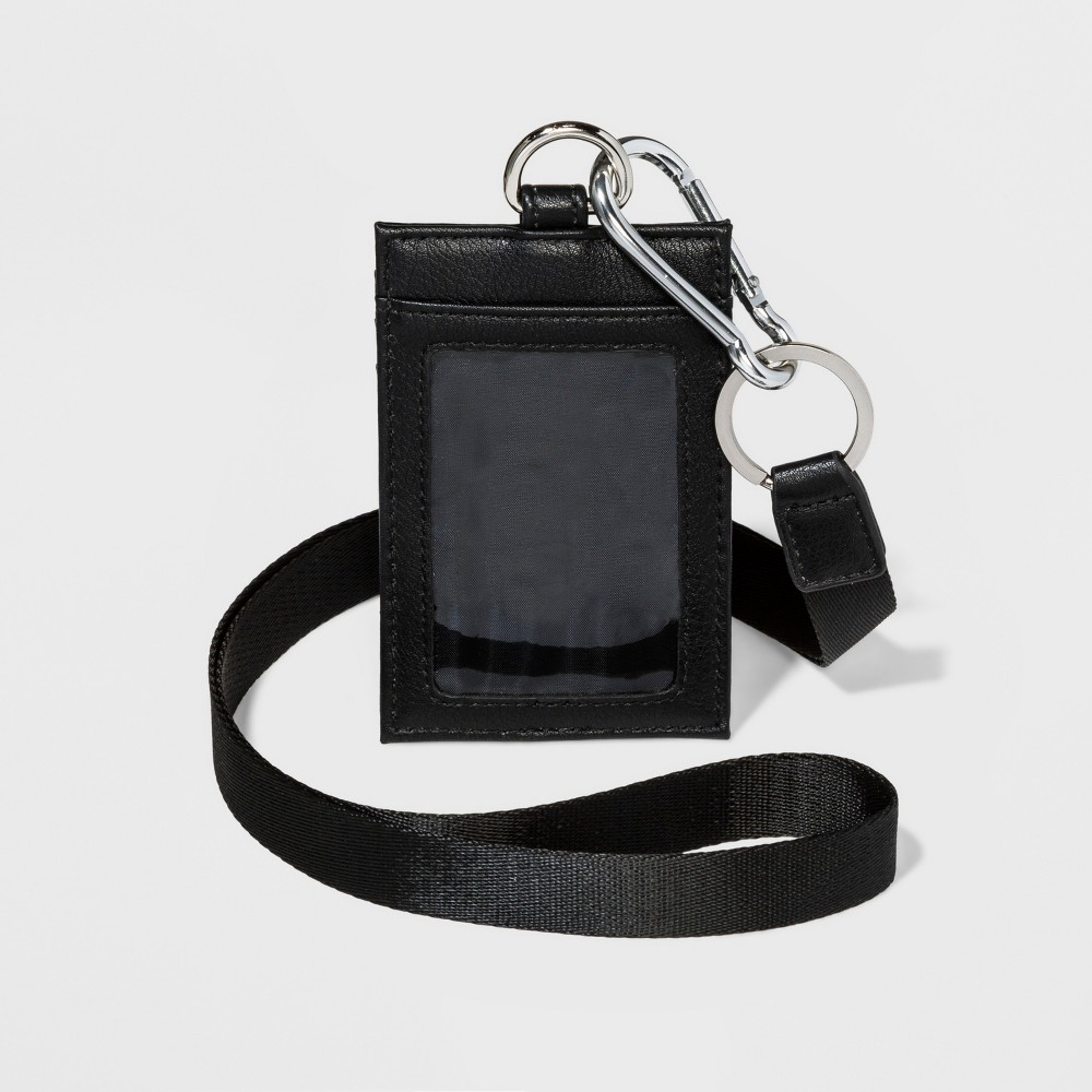 Women's Lanyard - Wild Fable Black ID lanyard with clear ID window on one side and three card slots on the other. Long lanyard slips on easily for hands-free carrying. Removable ID holder is attached to lanyard by metal clip Color: Black. Gender: Female. Age Group: Adult. Pattern: Solid.