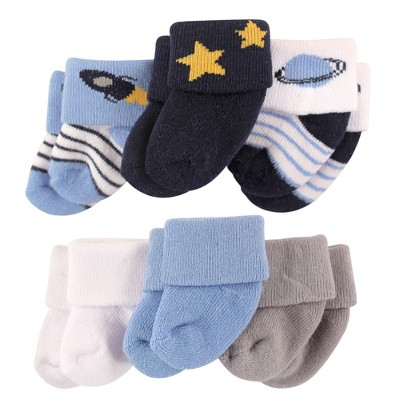 Luvable Friends Baby Boy Newborn and Baby Socks Set, Space, 0-3 Months