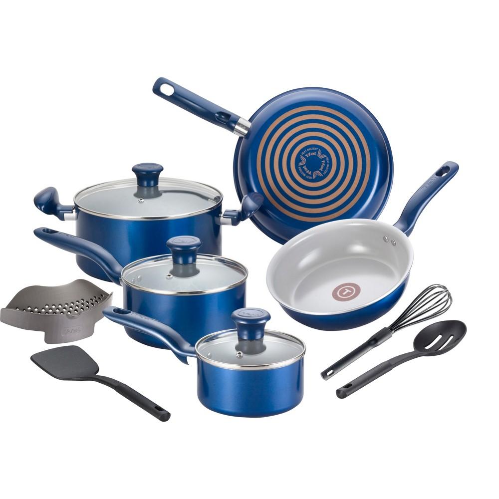 T-fal 12pc Ceramic Cookware Set Blue