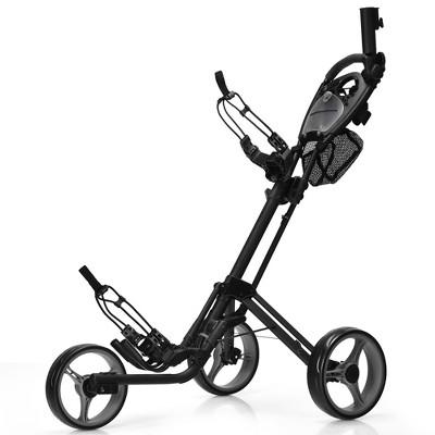 Goplus Folding 3 Wheels Golf Push Cart W/Brake Scoreboard Adjustable Handle Red\Blue\Grey\Green