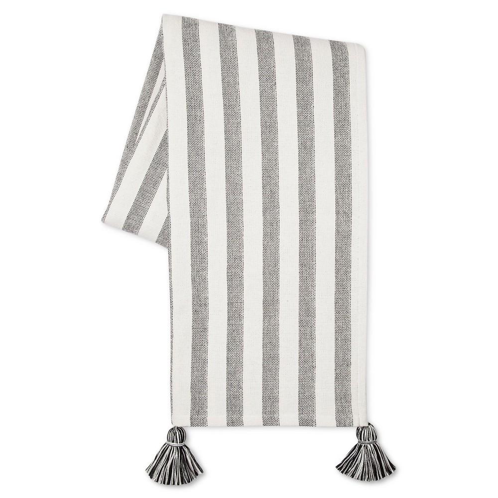 Black/White Tassel Throw Blanket (50