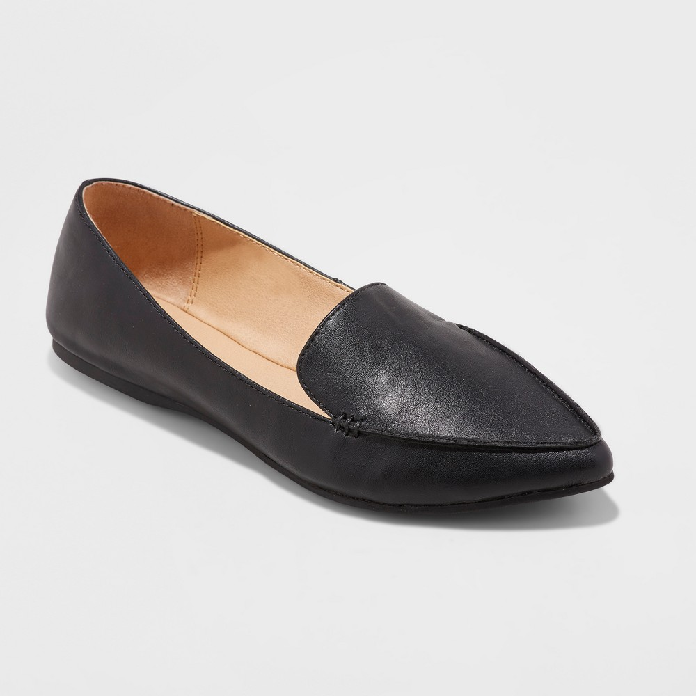 Women's Micah Wide Width Pointy Toe Loafers - A New Day Black 8W, Size: 8 Wide