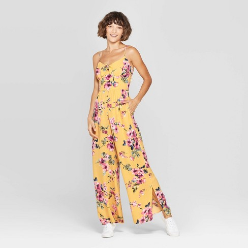 c14065b39257 Women s Floral Print V-Neck Strappy Front Tie Jumpsuit - Xhilaration™ Yellow