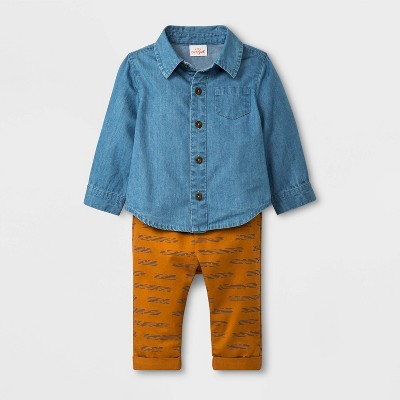 Baby Boys' 2pc Long Sleeve Denim Top and Twill Pants - Cat & Jack™ Blue/Brown Newborn