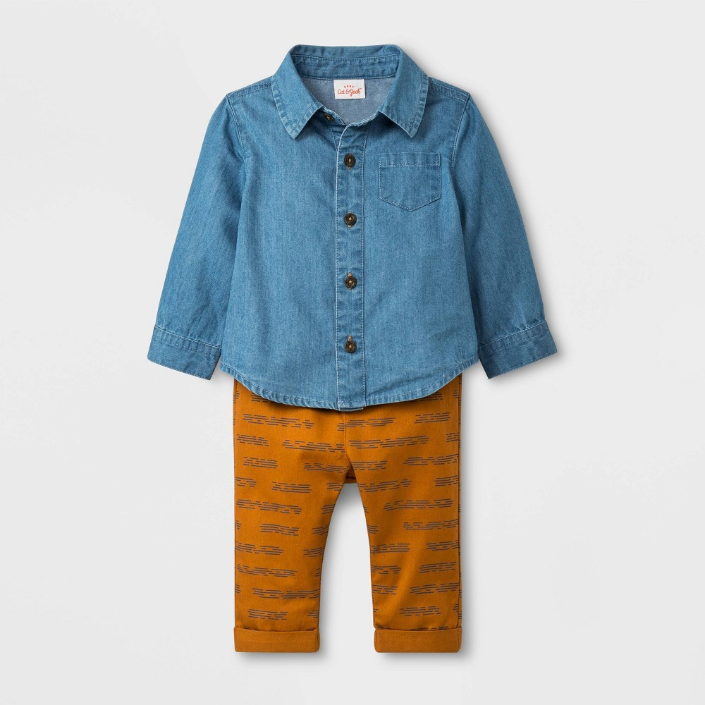 Baby Boys' 2pc Long Sleeve Denim Top and Twill Pants - Cat & Jack Blue/Brown 18M