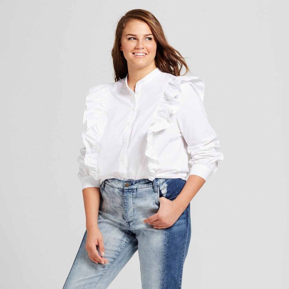 Women's Plus Size Ruffle Poplin Blouse - Who What Wear White 4X