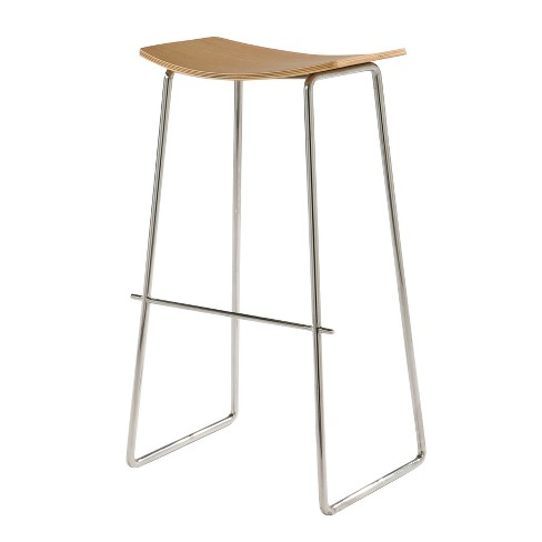 Incredible Timber Backless Barstool With Wood Seat American White Oak And Stainless Steel Aeon Andrewgaddart Wooden Chair Designs For Living Room Andrewgaddartcom