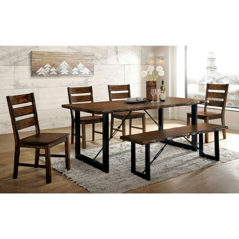 Iohomes Kopec Industrial Style Dining Table 6pc Set Walnut Homes