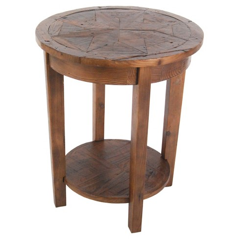 Round End Table Reclaimed Wood Natural Alaterre Furniture