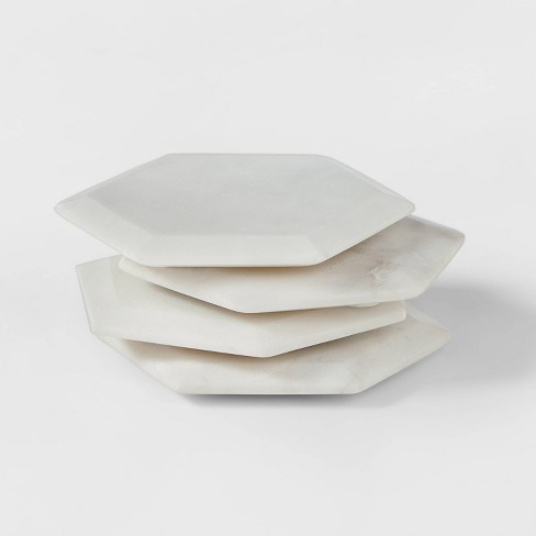 4pk Marble Hexagonal Coasters Natural - Threshold™ - image 1 of 3
