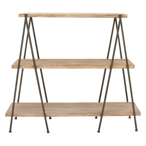 """51"""" Metal and Wood 3 Tier Shelf V Legs Brown - Olivia & May - image 1 of 4"""