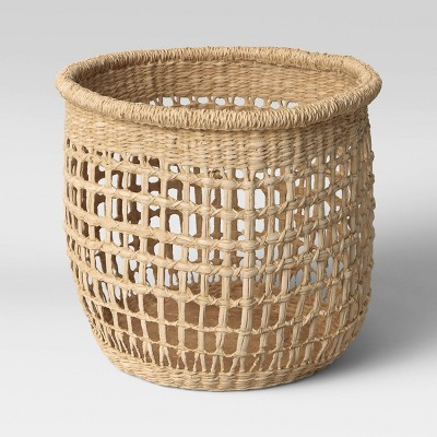 "11"" x 9"" Decorative Woven Seagrass Basket Natural - Threshold™"