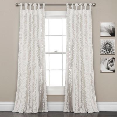 "Set of 2 84""x40"" Sophia Ruffle Window Curtain Panels White -Lush Décor"