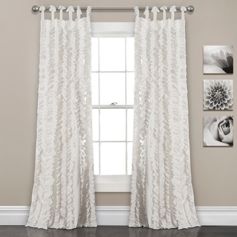 "Set of 2 84""x40"" Sophia Ruffle Window Curtain Panels White -Lush Décor - image 1 of 4"