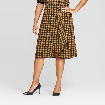 Women's Plus Size Plaid Mid Rise A Line Midi Skirt   Who What Wear by Rise A Line Midi Skirt