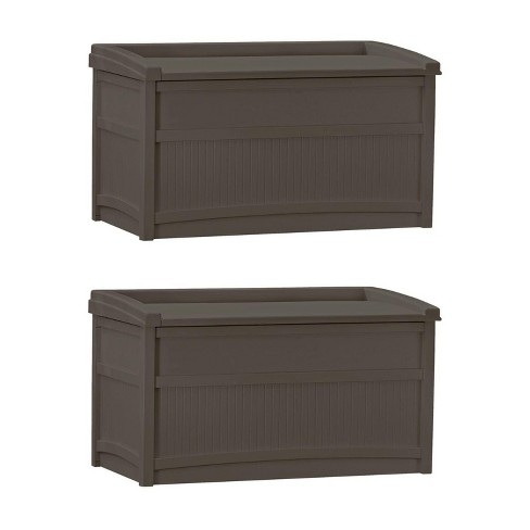 Suncast 50 Gallon Stay Dry Resin Outdoor Deck Storage Box W Seat Java 2 Pack Target