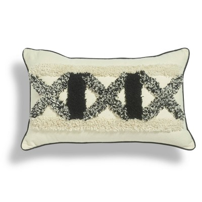 """12""""x20"""" X-Factor Boucle Embroidered Throw Pillow Black/White - Sure Fit"""