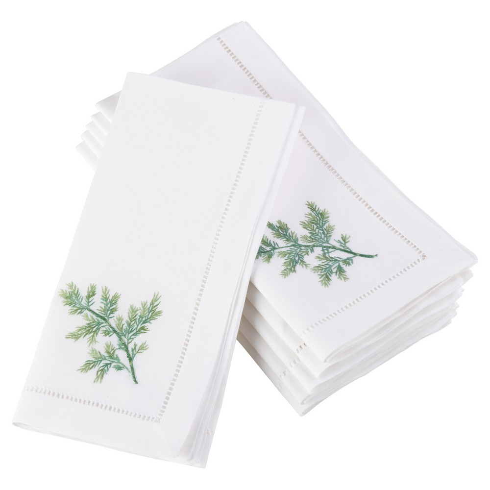 6pk White Embroidered Dill Design Napkin 20 - Saro Lifestyle