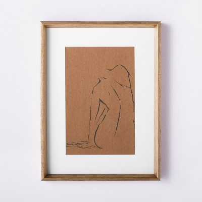 """12"""" x 16"""" Woman Figural Sketch Framed Wall Art Tan - Threshold™ designed with Studio McGee"""