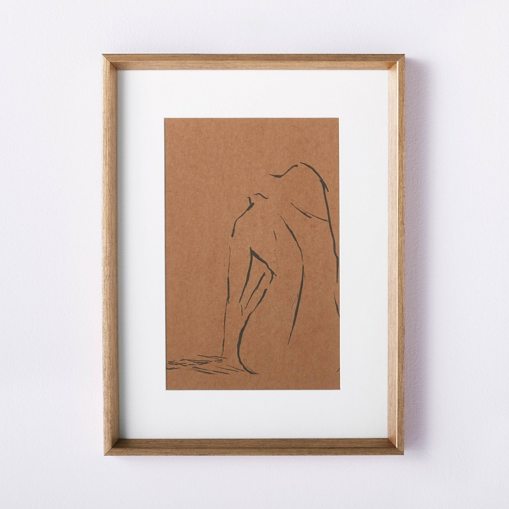 """Best 12"""" x 16"""" Woman Figural Sketch Framed Wall Art Tan - Threshold™ designed with Studio McGee"""
