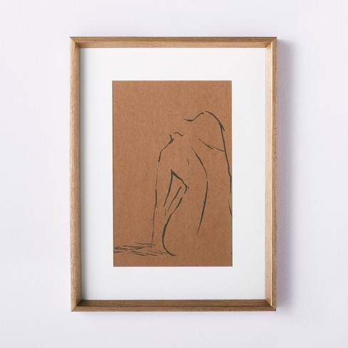 """12"""" x 16"""" Woman Figural Sketch Framed Wall Art Tan - Threshold™ designed with Studio McGee - image 1 of 3"""