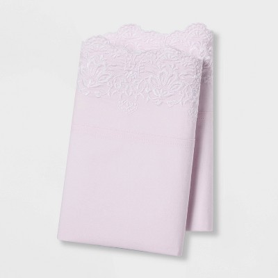 Standard Embroidered Hem Solid Pillowcase Set Pink - Simply Shabby Chic®