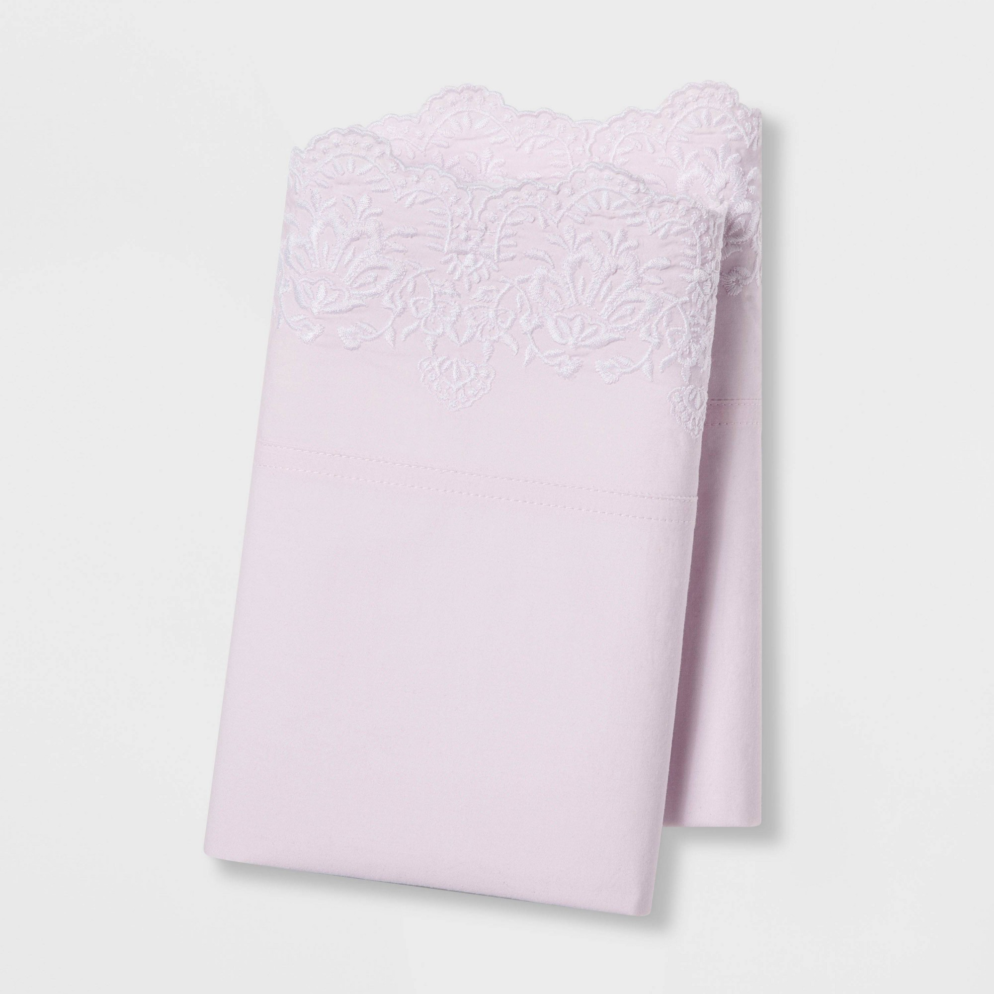 Standard Embroidered Hem Solid Pillowcase Set Pink - Simply Shabby Chic