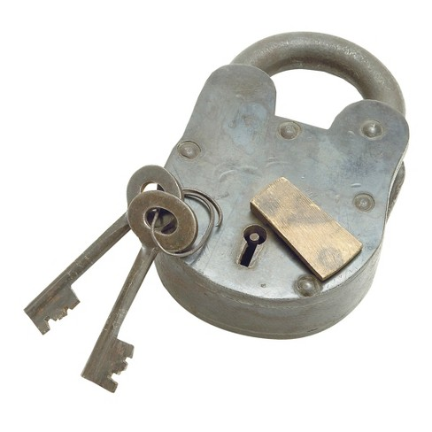 "Industrial Arts Brass and Metal Vintage Lock and Keys (3""x5"") - Olivia & May - image 1 of 1"