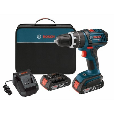 Bosch HDS181-02-RT 18V Lithium-Ion Compact Tough 1/2 in. Cordless Hammer Drill Driver Kit with (2) 2 Ah SlimPack HC Batteries