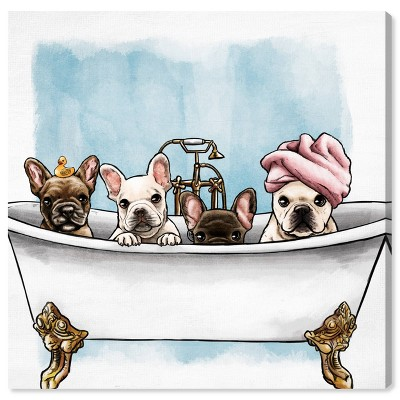 "12"" x 12"" Frenchies In The Tub Animals Unframed Canvas Wall Art in White - Oliver Gal"