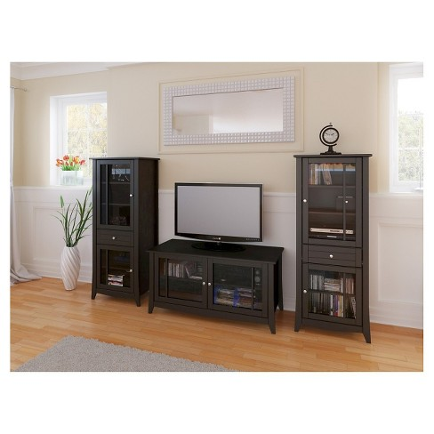 Elegance Entertainment Kit With Tv Stand And 2 Curio Cabinets 49 Espresso Nexera