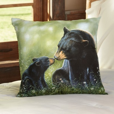 """Lakeside Black Bear Throw Pillow - Decor Accent for Couch with Natural Theme - 16"""""""