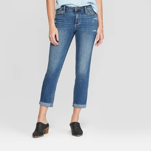 2bc53417b745 Women s Relaxed Fit High-Rise Cropped Straight Jeans - Universal Thread™  Medium Wash