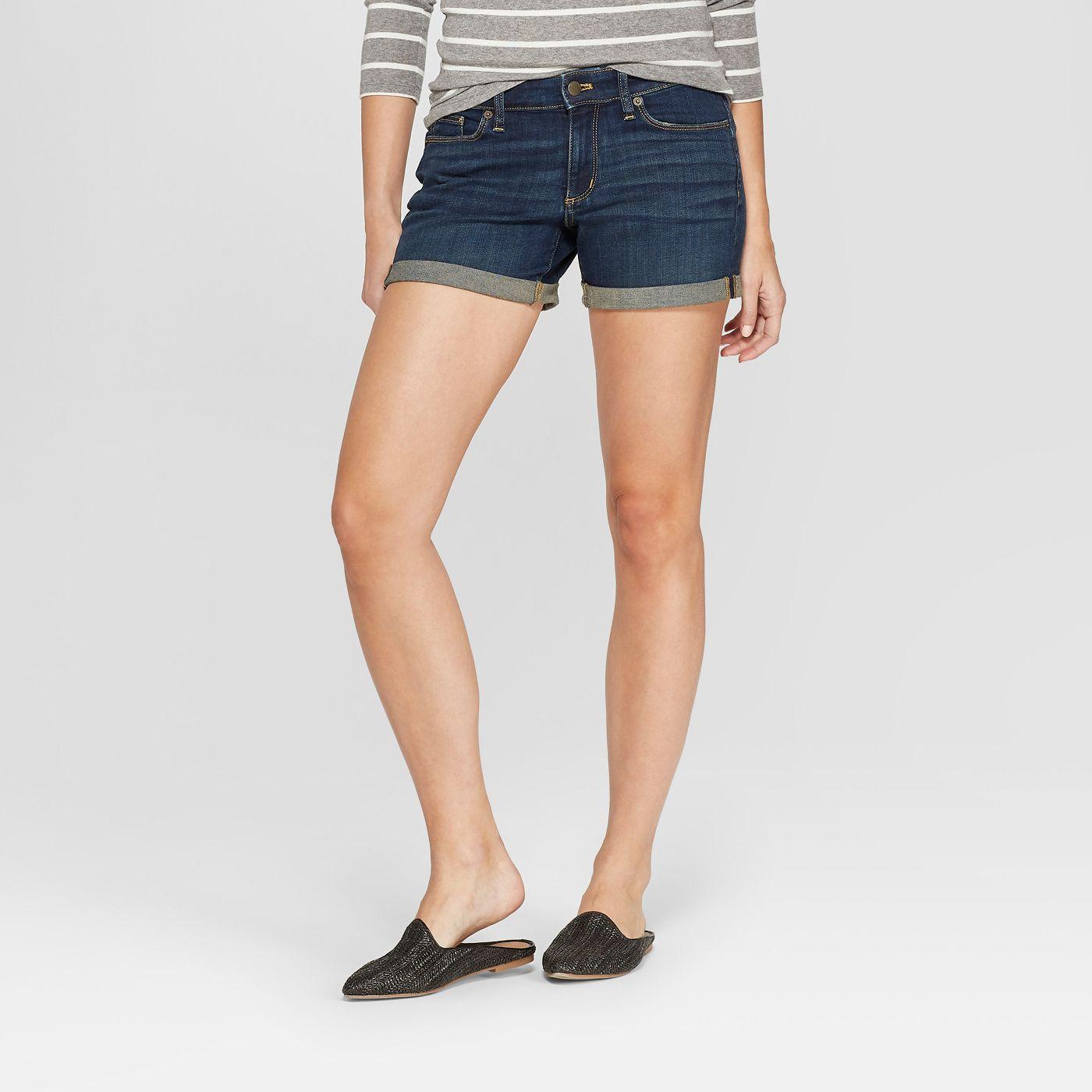 Women's Mid-Rise Rolled Cuff Midi Jean Shorts - Universal Thread™ Dark Wash - image 1 of 4