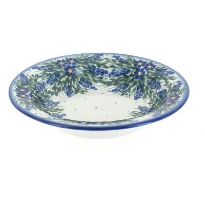 Blue Rose Polish Pottery Hyacinth Soup Plate with Rim